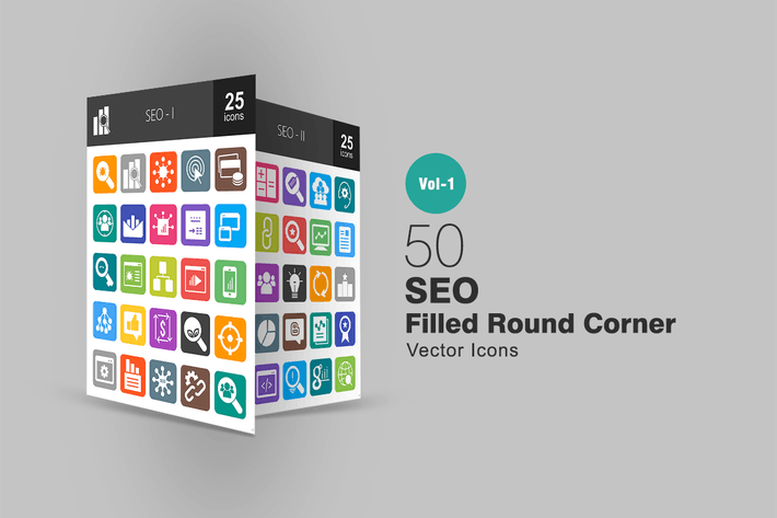 Thumbnail for 50 SEO Filled Round Corner Icons