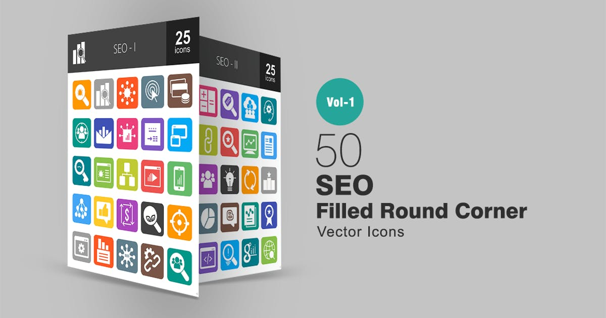 Download 50 SEO Filled Round Corner Icons by IconBunny