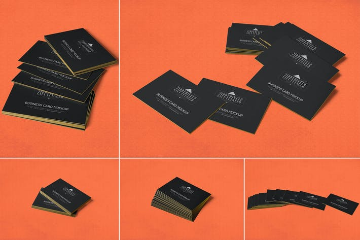 Thumbnail for 5 Business Card Mockups In Stacked View