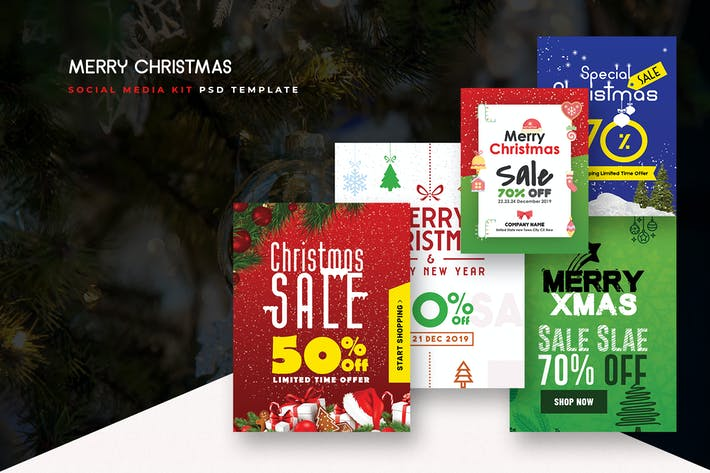 Thumbnail for Merry Christmas Social Media Kit PSD Templates
