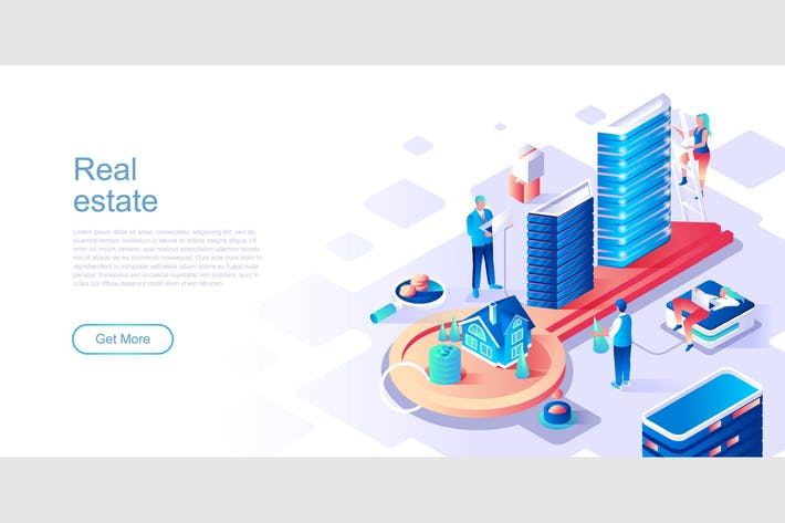 Real Estate Isometric Flat Concept Header