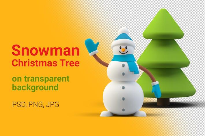 Snowman Christmas Tree on Transparent Background