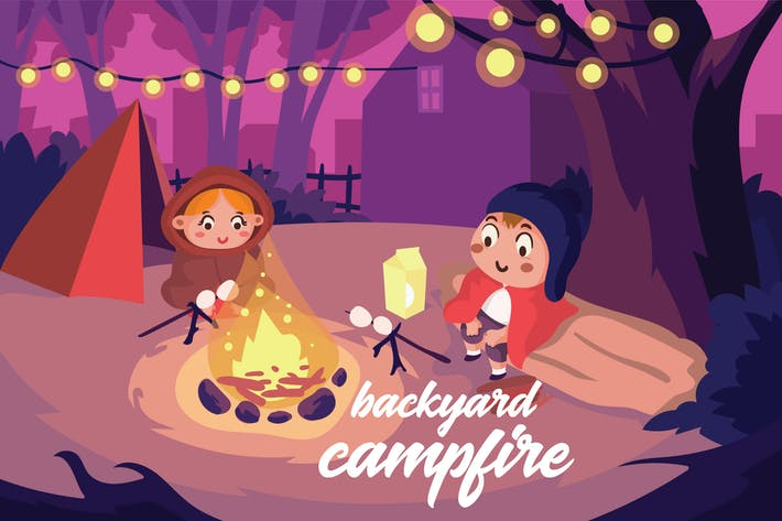 Thumbnail for Backyard Campfire - Vector Illustration