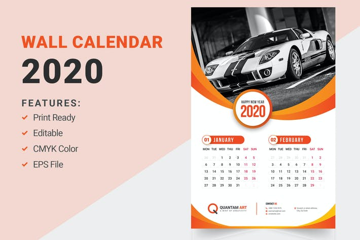 Thumbnail for Wall Calendar Design 2020
