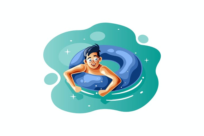 Thumbnail for Boy swim with the ring buoy