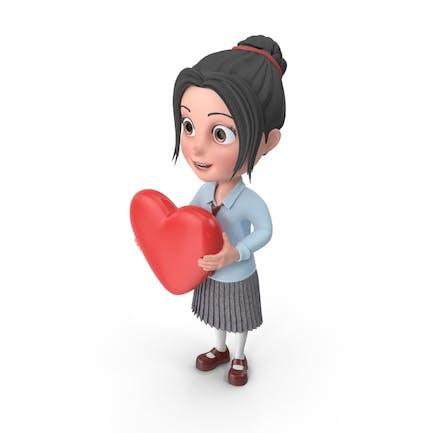Cartoon Mädchen Emma hält Herz