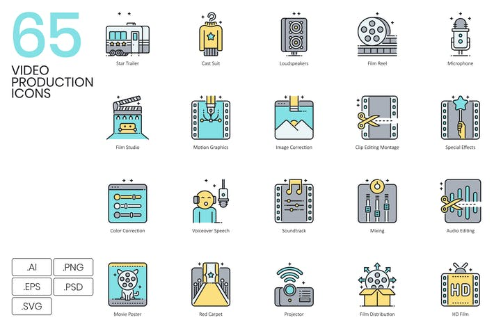 Thumbnail for 65 Video Production Icons | Aqua Series