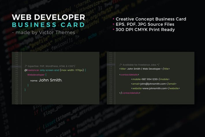 Web developer business card by victorthemes on envato elements cover image for web developer business card colourmoves