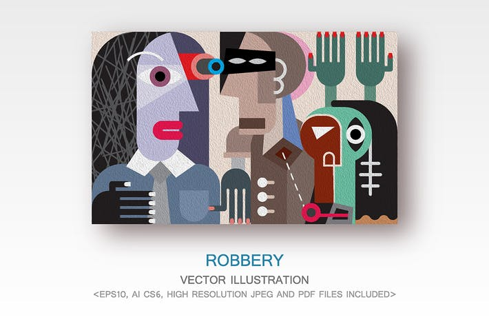 Thumbnail for Robbery, criminal violence fine art painting