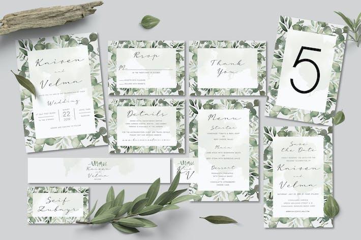 Cover Image For Foliage Wedding Invitation Set