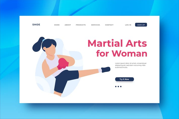 Martial Arts for Woman Landing Page Illustration