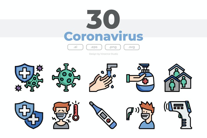 Thumbnail for 30 Coronavirus Icons