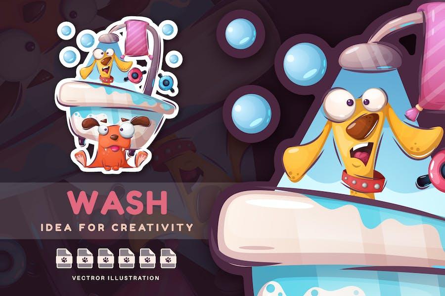 Pets Wash in the Bathroom - Cute Sticker