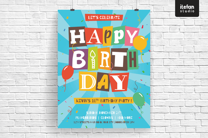 Cover Image For Cutout Letters Isolated Happy Birthday Flyer