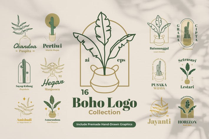 Thumbnail for Boho Botanical Badges Logo