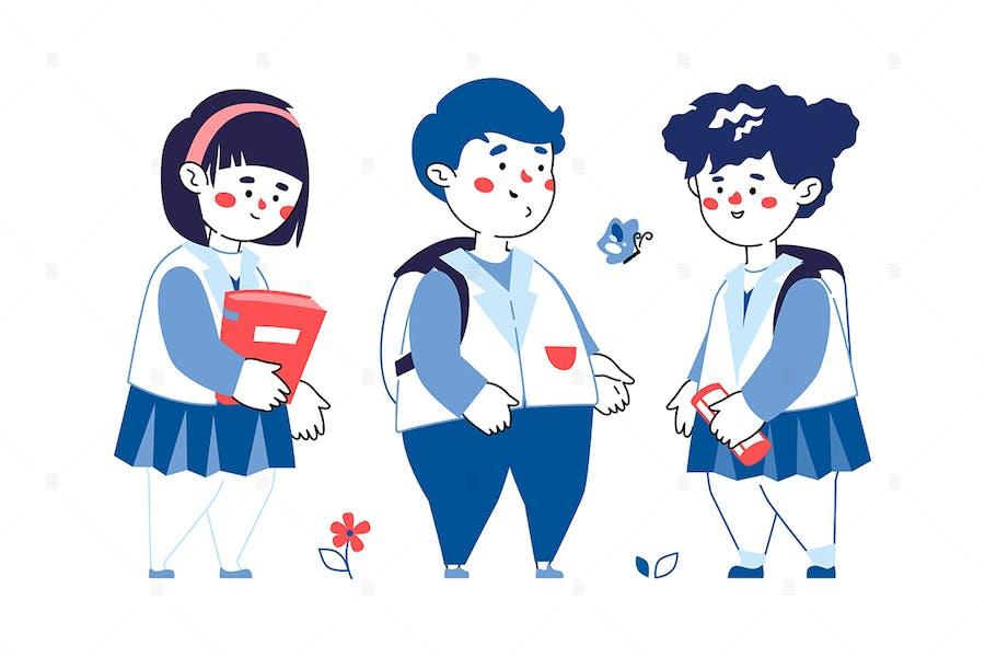 Children Meeting - Line Illustration