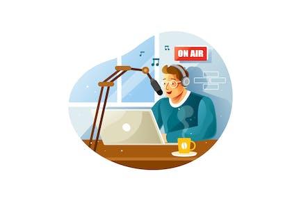 Radiohost im Studio spricht im Mikrofon