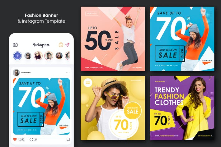 Thumbnail for Fashion Sale Banner and Social Media Template