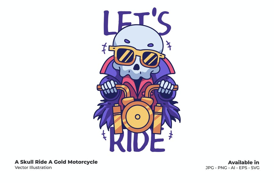 Skull Ride A Gold Motorcycle