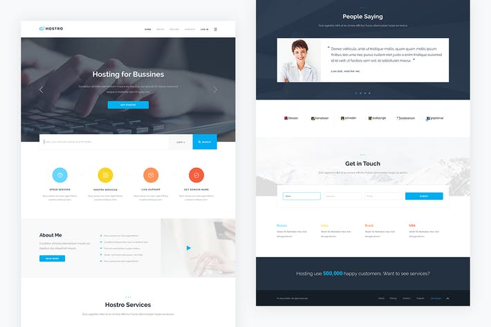 Thumbnail for Hostro — Hosting PSD Template