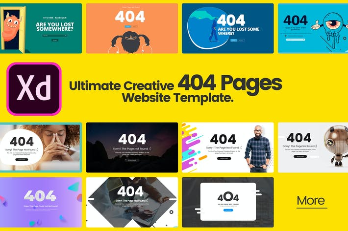 Thumbnail for Ultimate Creative 404 Pages in Adobe XD Template