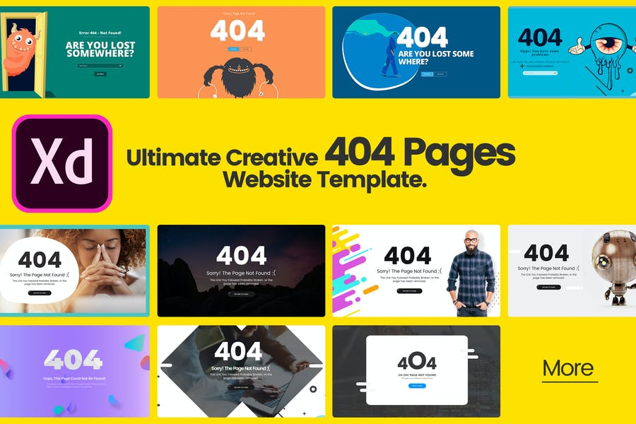 Ultimate Creative 404 Pages in Adobe XD Template