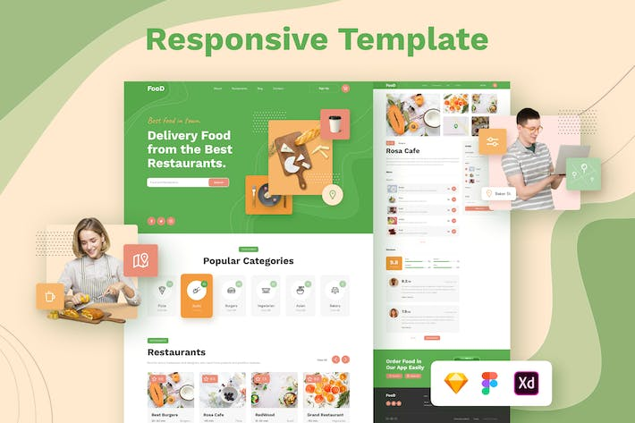 Cover Image For Food Delivery Restaurant Responsive Template