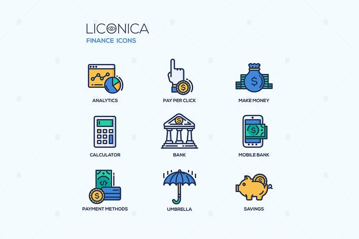 Thumbnail for Business and finance - vector icons set