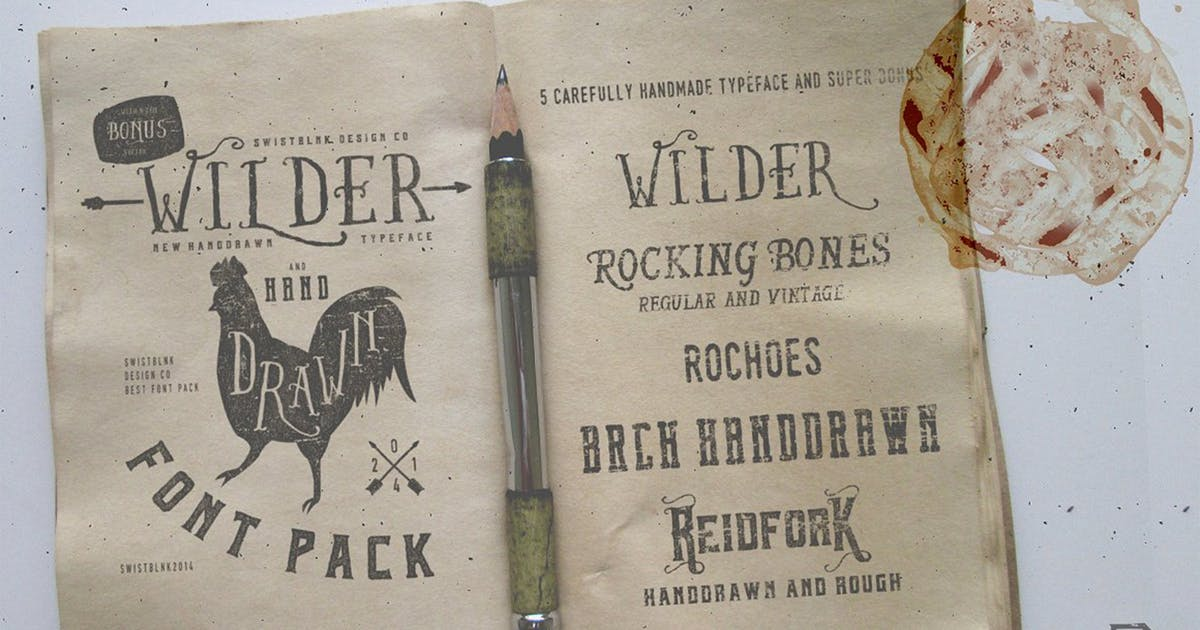Download Wilder and Handrawn Font Pack by swistblnk