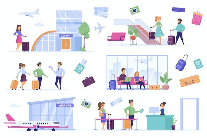 Airport Interior Flat Scene Creator Kit