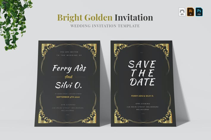 Thumbnail for Bright Golden | Wedding Invitation