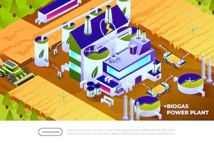 Biogas Power Plant - Isometric Illustration