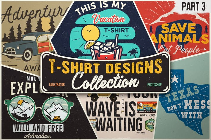 T-Shirt Designs Retro Collection. Part 3