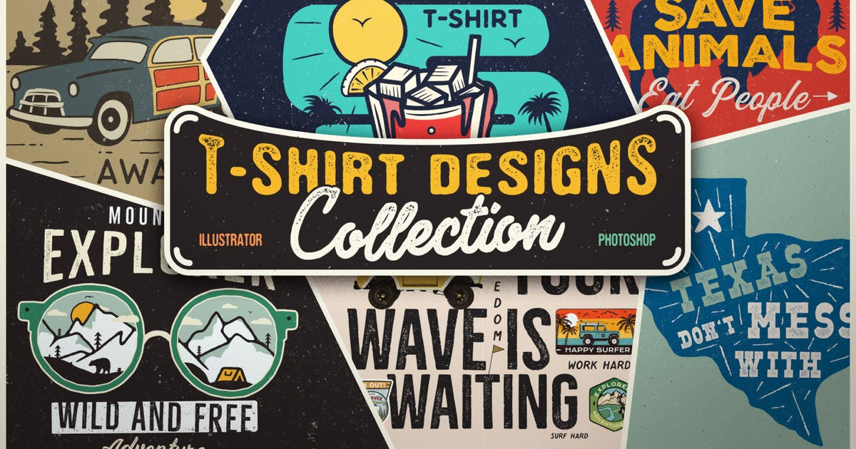 Download T-Shirt Designs Retro Collection. Part 3 by JeksonJS