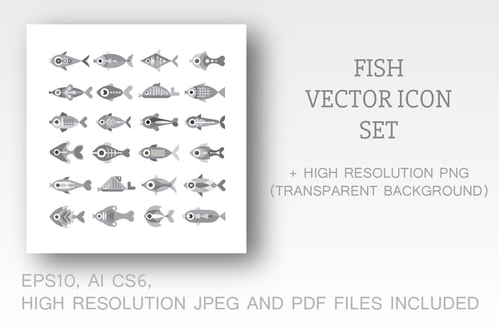 Thumbnail for Fish vector icon set (3 options)