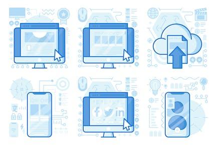 Video Chat UI UX Illustrations