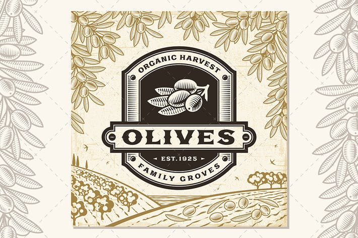 Thumbnail for Retro Olives Label On Harvest Landscape