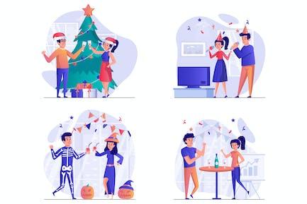 Feier Szenen Web-Illustrationen Set