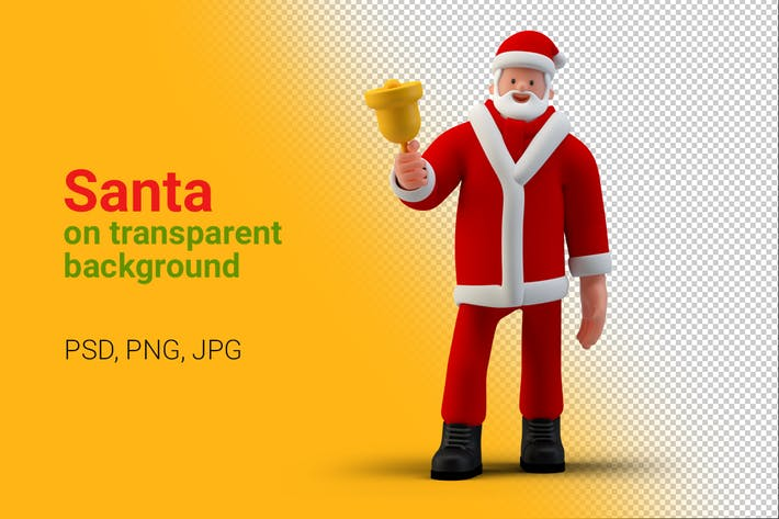 Thumbnail for Santa standing with Bell on Transparent Background