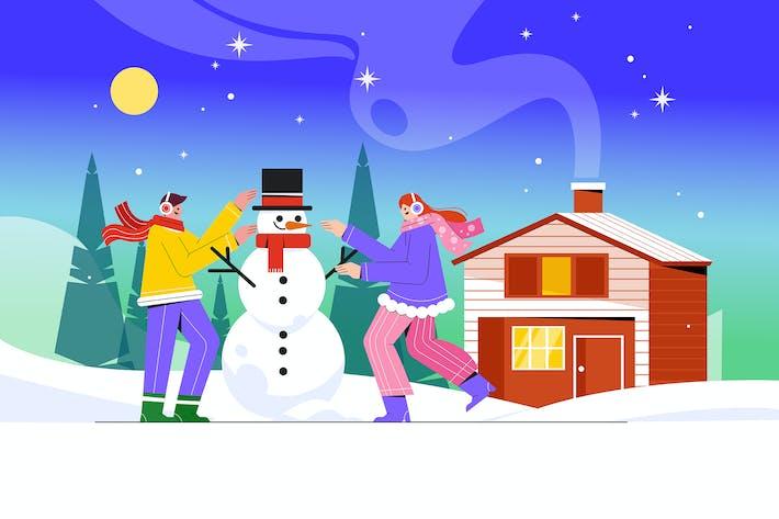 Thumbnail for Дети играют на открытом воздухе зимой Иллюстрация