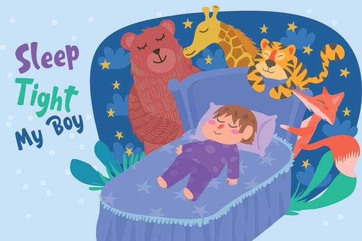Thumbnail for Boy Sleeping - Vector Illustration