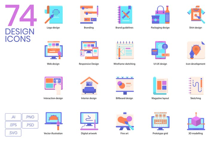 Cover Image For 74 Flat Design Icons
