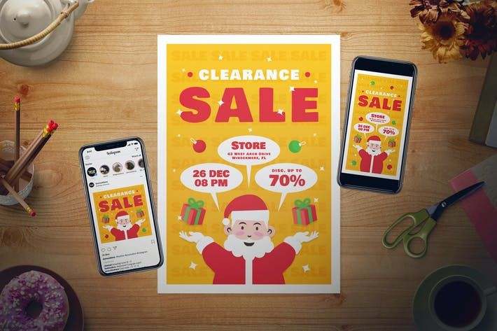 Cover Image For Christmas Sale Flyer Set