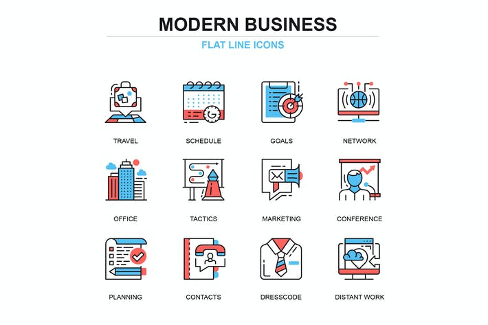 Cover Image For Thin line business and development icons set