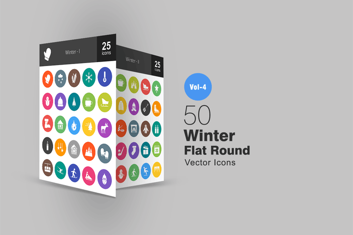 Cover Image For 50 Winter Flat Round Icons