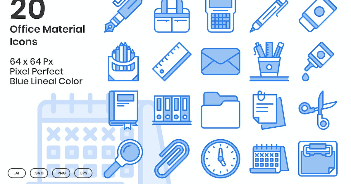 Download 20 Office Material Icons Set - Blue Lineal Color by kmgdesignid