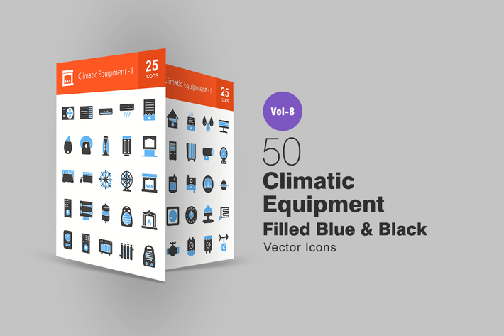 Climatic Equipment Blue & Black Icons