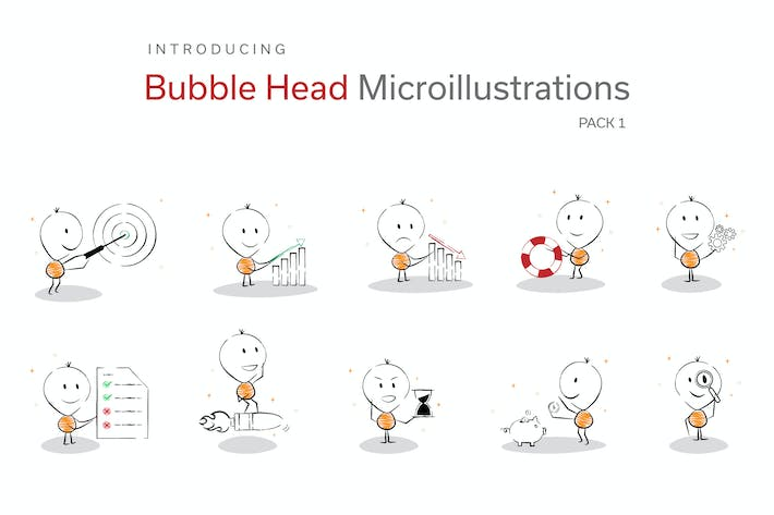 Thumbnail for Bubble Head Micro Illustrations - Business Pack