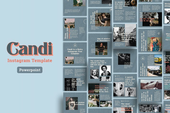 Thumbnail for Candi - Ретро Instagram Сообщение Шаблон Power Point