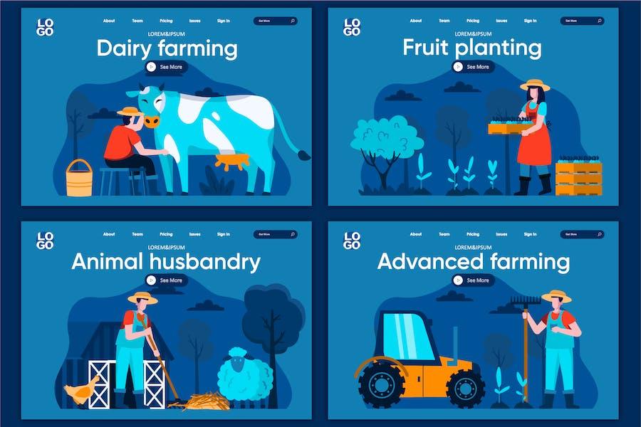 Modèle de page de destination Farming Flat Concept